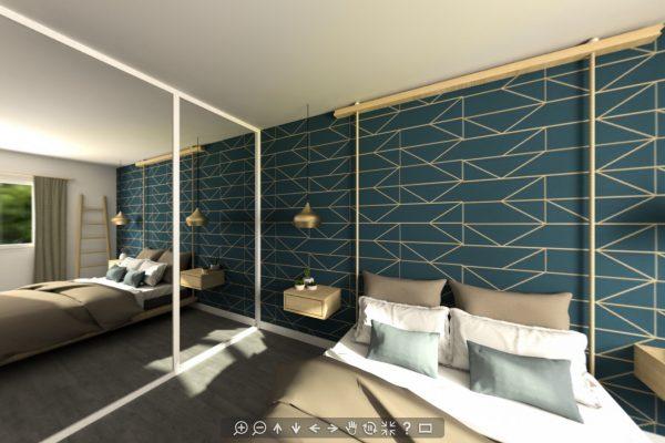 Chambre pour un Home Staging Virtuel à Aix-en-Provence, Région PACA